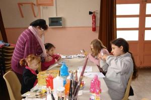 Réalisation d'une fresque par les enfants, avec Christiane - Fête des savoirs 2013 - Brinon/Beuvron